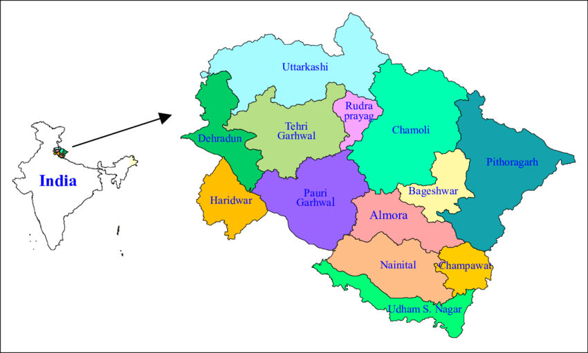 map of uttarakhand with all districts